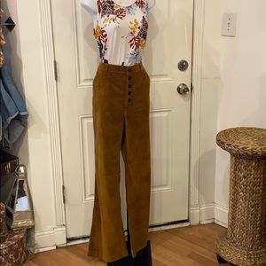 Free people tan velvet button down wide leg pants